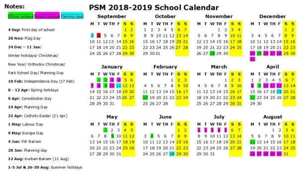 PSM calender 2018-2019